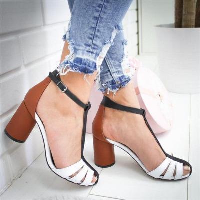 Strap Heel Peep Toe Chunky Heel Sandals Slip On Elastic Bandage Elegant Sandals