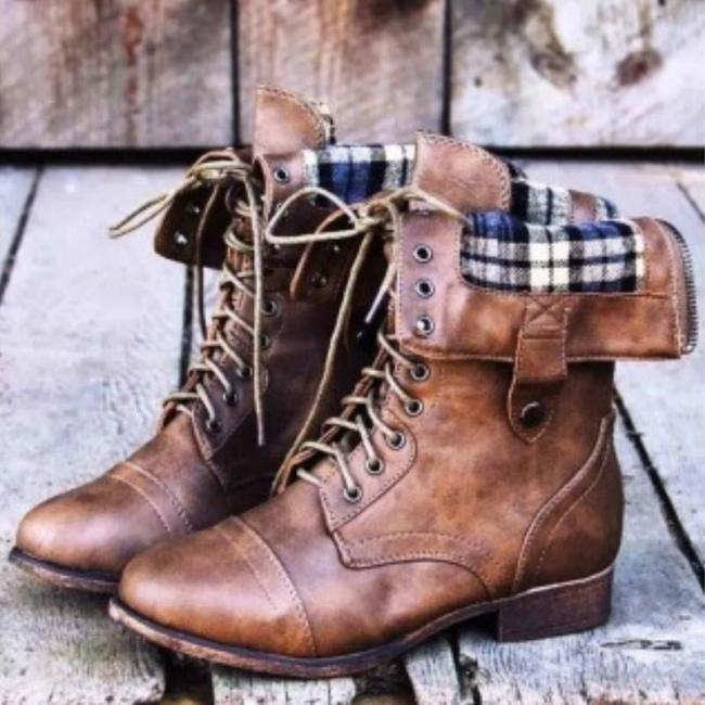 Women Rugged Plaid Darling Cozy Boot Shoes