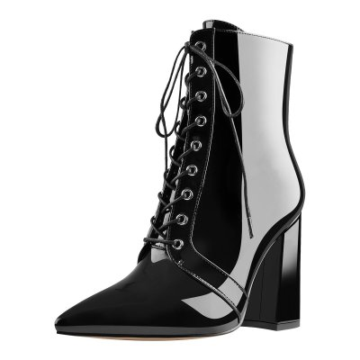 Pointed Toe Patent Leather Lace up Chunky High Heels Ankle Boots