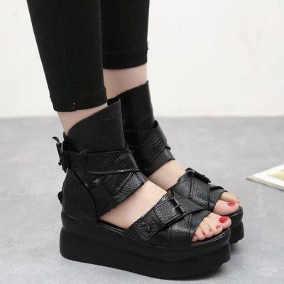 Women Sandals Outside Women's Summer Roman Fish Mouth Shoes Thick Bottom Rivet Wedge Sandals