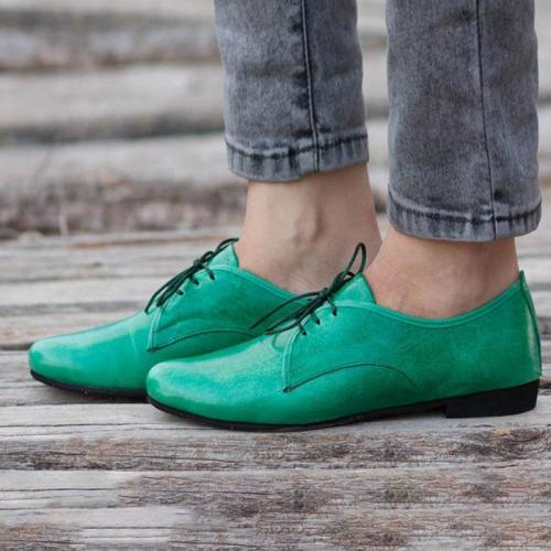Solid Green Vintage Lace-Up Flats Oxford Shoes