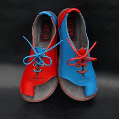 Red/Blue Color Block Casual Couple Sandals