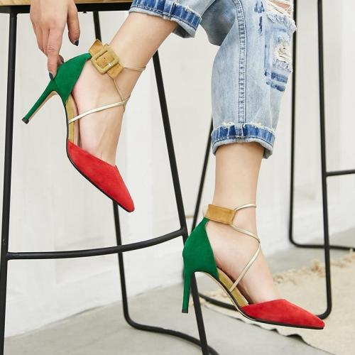 Women Suede Leather  Buckle Mixed Colors Thin High Heels Party Shoes