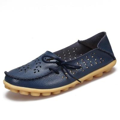 Ballet Cut Out Women Leather Flat Flexible Round Toe Casual Fashion Loafer