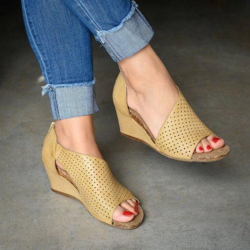 Hollow Slip On Wedge Heels Sandals
