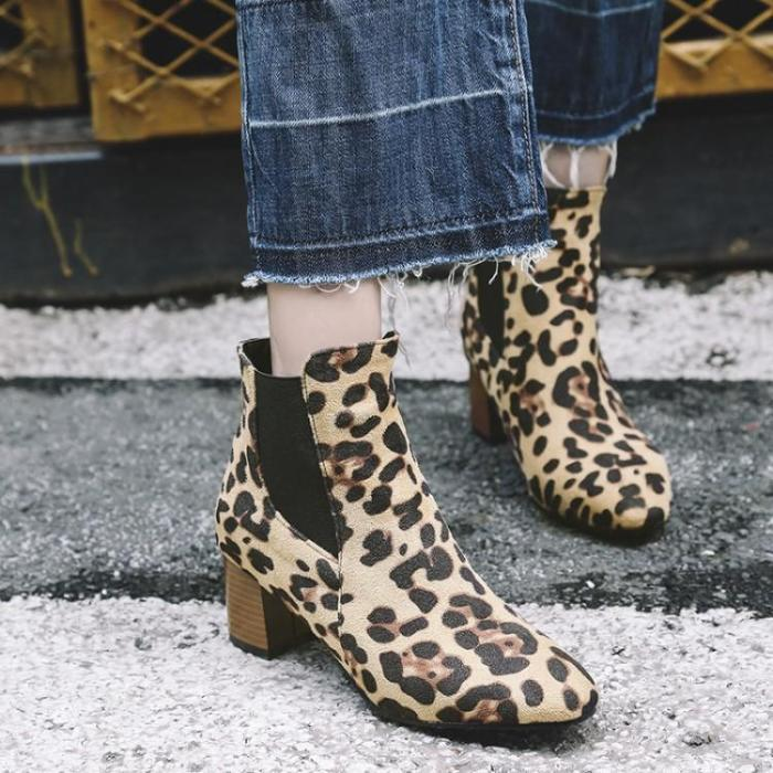 Leopard Print Flocking Point Toe Adjustable Rubber Chunky Booties