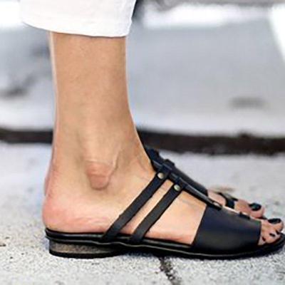 Women PU Sandals Casual Slip On Plus Size Shoes