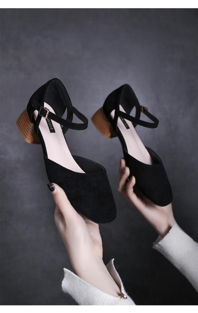 square toe roma sandals women ankle strap flock gladiator sandalias chunky heel all-match