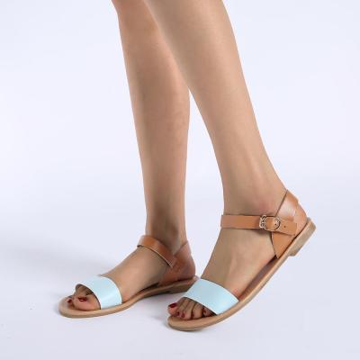 Women's PU Round Toe Adjustable Buckle Beach Flat Sandals