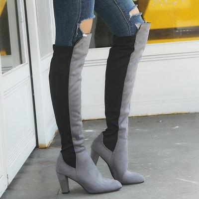 Women Plus Size Faux Suede Color Block Boots Chunky Heel Knee-high Boots