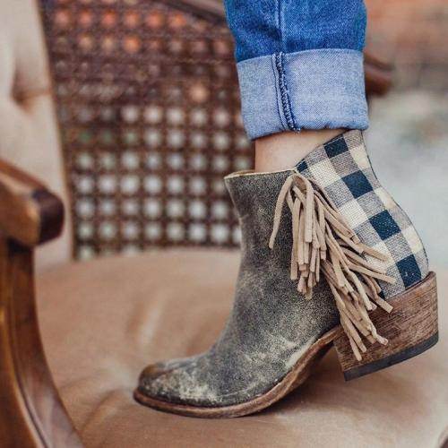 TAUPE CHUNKY HEEL FAUX LEATHER ALL SEASON TASSEL BOOTS