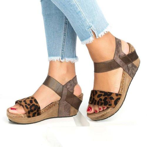 Wedge Platform Heel Sandals Open Toe Wide Ankle-Strap Casual Summer Women Shoes