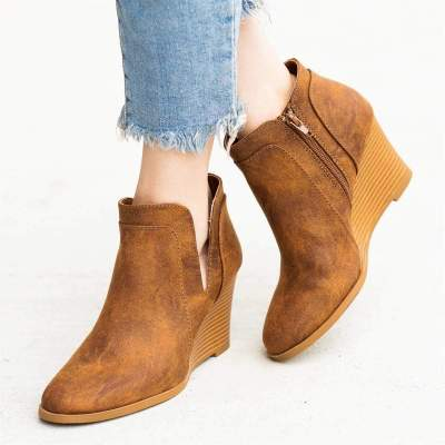 Point Toe Side-Cut Solid High Wedges Ankle Boots