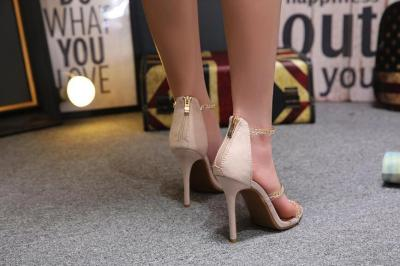 Women Open Toe Ankle Strap Chain Sandals Crystal Thick High Heel Sequined Shoes