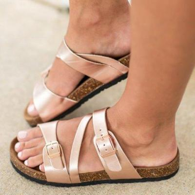 Golden Artificial Leather Buckle Mule Sandals