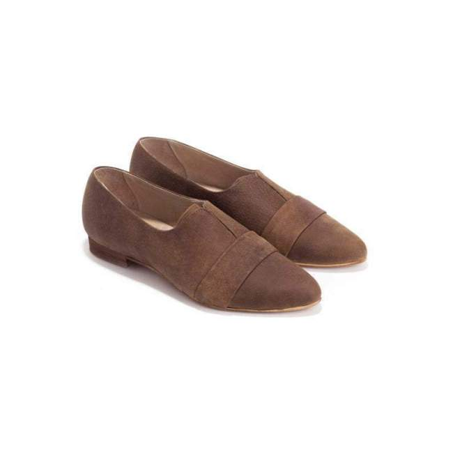 Flocking/Pu Material Point Toe Kitten Heels Slip-On Loafers