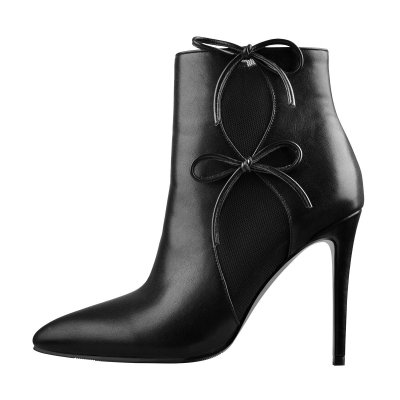 Side Net Breathable Bow Matte Black Leather Ankle boots