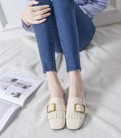 Spring and Autumn Flat Slippers Women's No Heel Outside Wear Cozy Muller Shoes