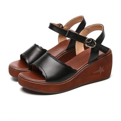 Wedge Heel Open Toe Genuine Leather Sandals