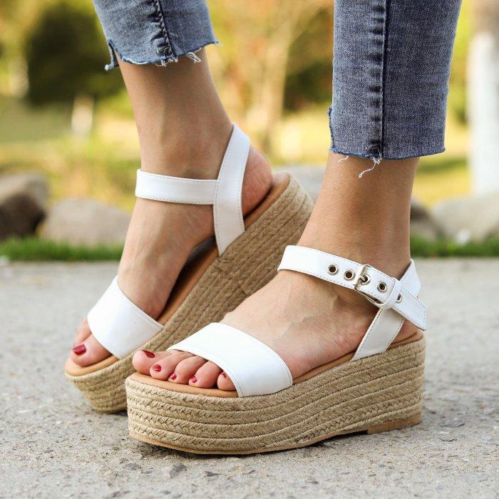 Women's PU Peep Toe Adjustable Buckle Platform High Sandals
