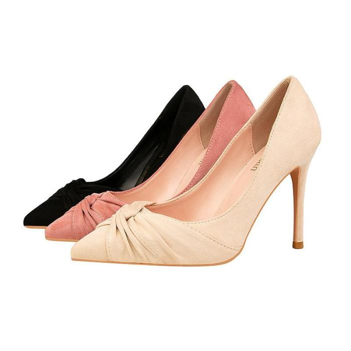 Sexy Nightclub Show Thin Suede Women's Shoes High Heel Shallow Pointed Bow Woman