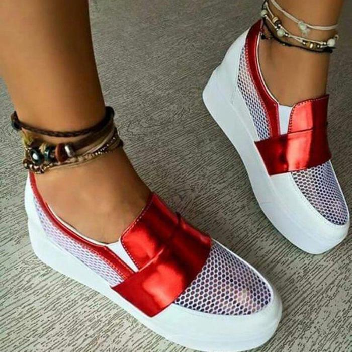 Women Hollow Out Athletic Sneakers Slip On Chic Shoes