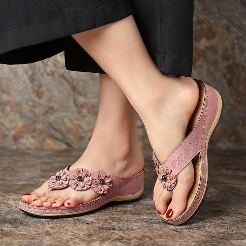 Fashion Wild Retro Flower Platform Wedge Slippers