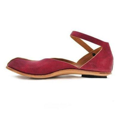 Summer/Spring Flat Hollow Round Toe Ankle Strap Sandals