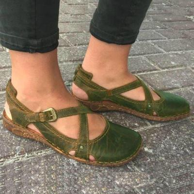 Vintage Cross-Band Buckle Round Toe Hollow Flat Sandals