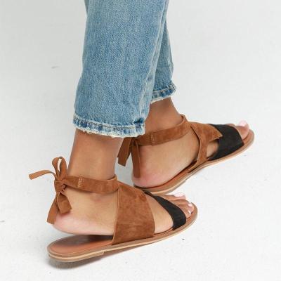 Color Block Bowknot Back Flocking Flat Sandals