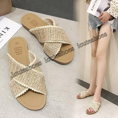 Sandals women summer new flat hollow woven slippers