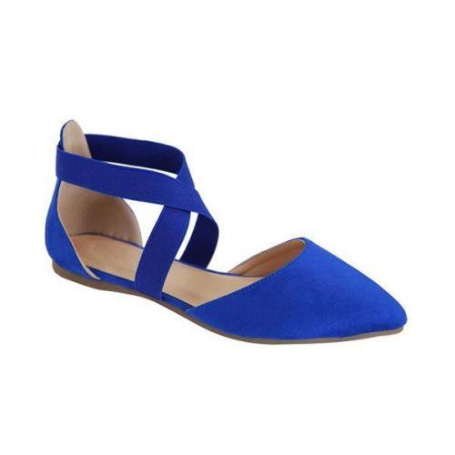 Elastic Strap Ballerina Royal Blue Flats