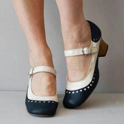 Color Block Buckle Lacer Cut Medium Heel Mary Jane Shoes