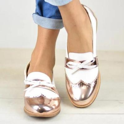 Wingtip Bow Loafers Low Heel PU Color Block Casual Loafers