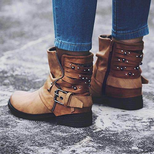 Gray Daily Women Chunky Heel Boots Microfiber Leather Adjustable Buckle Booties