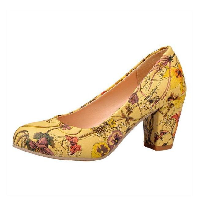 Printed Flower Pu Daily Block Heels