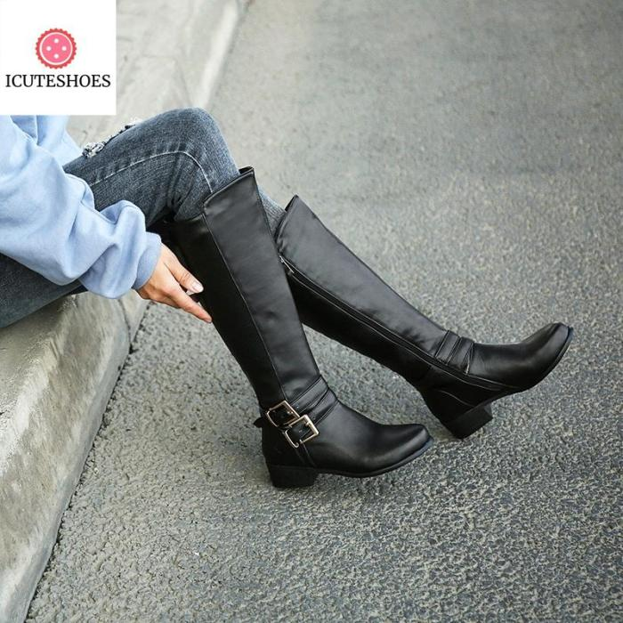 women snow boots buckle with zip Retro women's knee high boots thick fur warm
