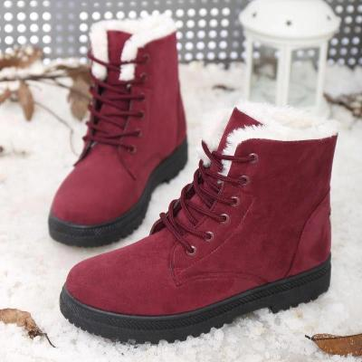 Flocking With Plus Velour Lining Lace-Up Ankle Boots