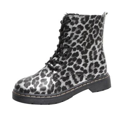 Leopard Print Lace-Up Low Heel Plus Velour Lining Martin Boots