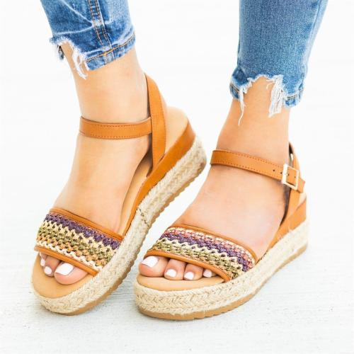 Summer Straw-Weaved Hollow Buckle Women Platform Sandals