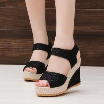Classic Lace Slope Heel Sandals Leisure Summer Sandals