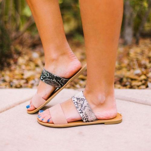Solid/Sneak Print Band Mule Sandals