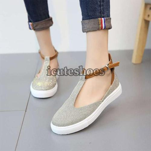 Leather Shoes Comfy Platform Flats Sole Ladies Casual Soft Slides Buckle