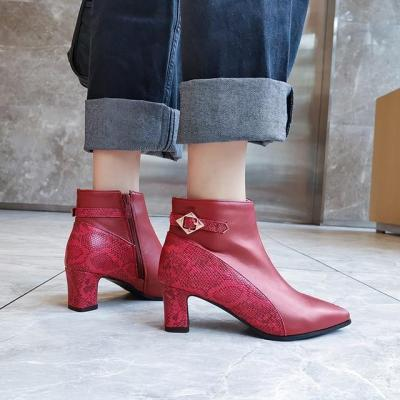 Elegant Ankle Boots Fashion Chunky Heels