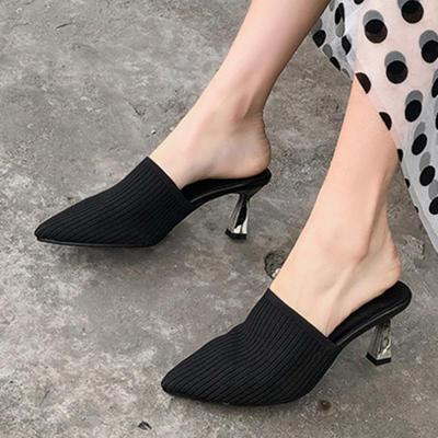 Summer Casual Spool Heel Pointed Toe Slippers