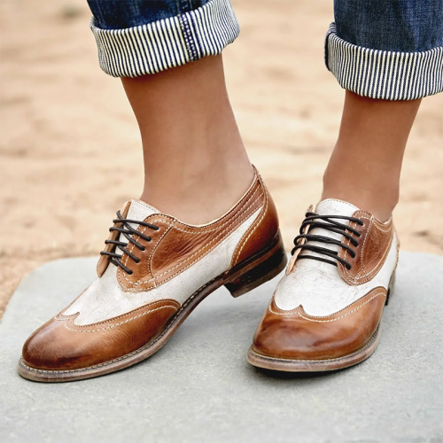 Womens vintage leather patchwork lace-up Oxford shoes