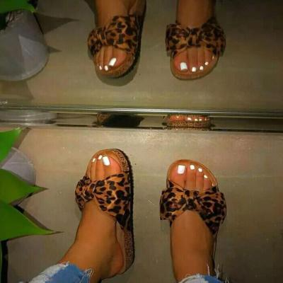 Solid/Leopard Sandals Bowknot Women's Casual Slippers