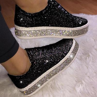 Fashion Rhinestone Paillette Lace-Up Low-Heel Single Shoes