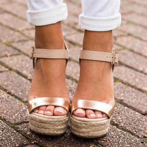 Adjustable Buckle Spring/Fall PU Daily Wedge Heel Sandal