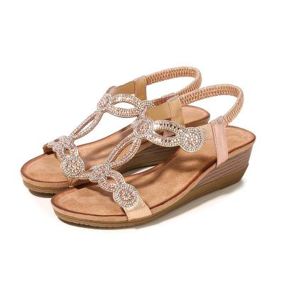 Sandals for Women 2020 New Retro National Fashion with Rhinestone Sandals Cross Border Women's Shoes